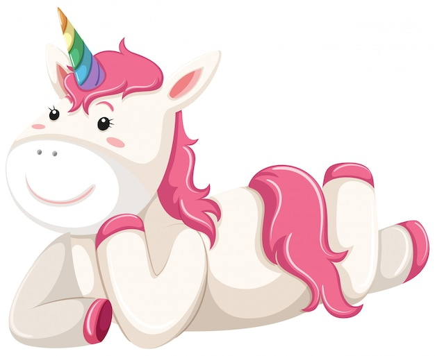 Happy pink unicorn laying