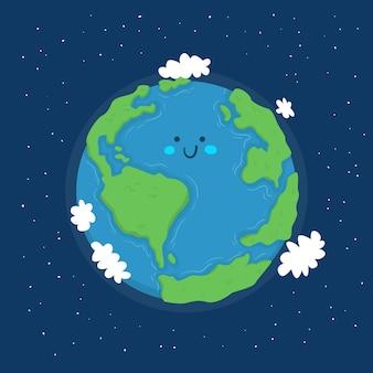 Happy planet earth globe illustration