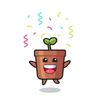 컬러 색종이 조각으로 축하하기 위해 점프하는 행복한 식물 냄비 마스코트, 티셔츠, 스티커, 로고 요소를 위한 귀여운 스타일 디자인