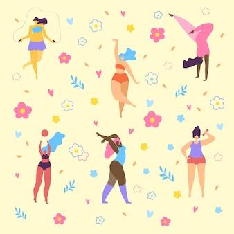 Счастливые девушки больших размеров и активный здоровый образ жизни