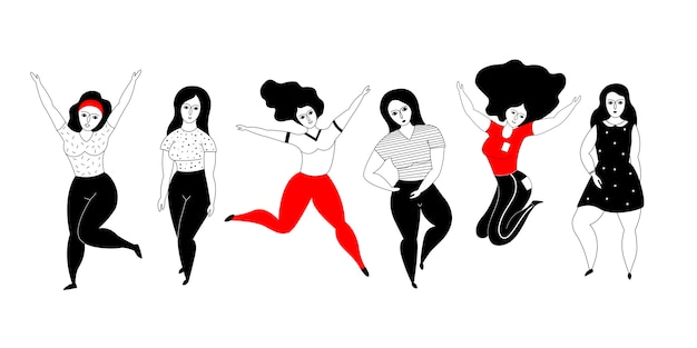 Happy plus size girls on a white background.