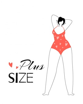 Happy plus size woman wearing red swimming suit