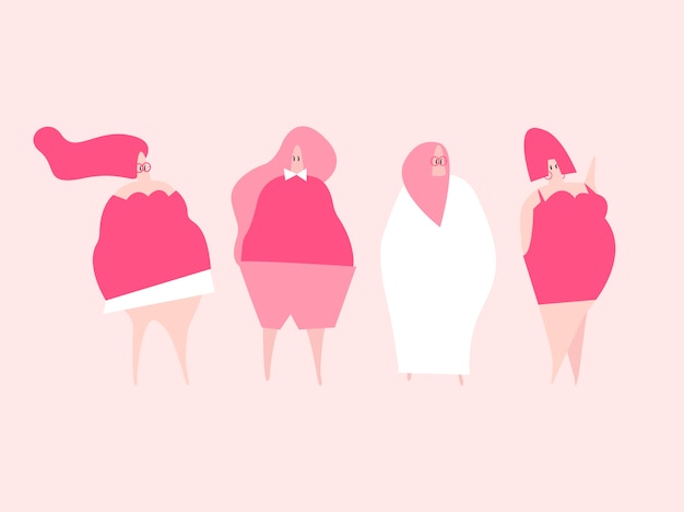 Happy plus size women vector