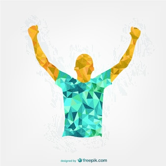 Happy polygonal man raising hands