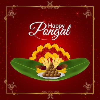 Happy pongal background and banana leafs