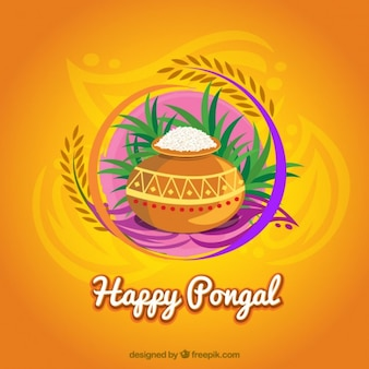 Happy pongal background in colorful style