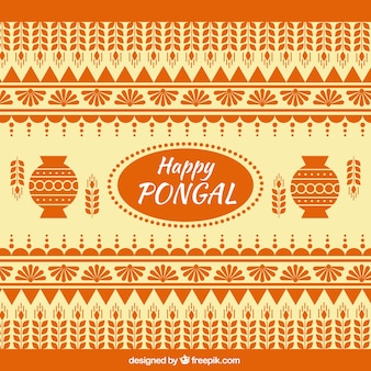 Happy pongal background in geometric style