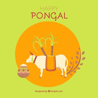 Happy pongal background with a cow