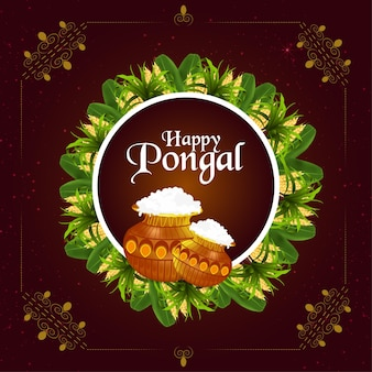 Happy pongal background with mud pot and banana leaf