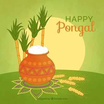 Happy pongal background with rice and sugarcane