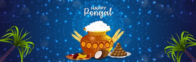 Happy pongal banner with creative mud pot and sugarcane