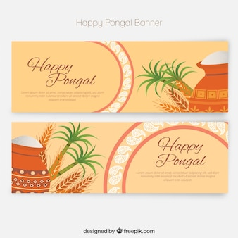 Happy pongal banners in a flat style
