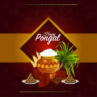 Happy pongal card with mud pot and sweet