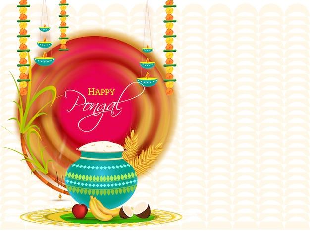 トーランで飾られた幸せなポンガルのお祝いの背景