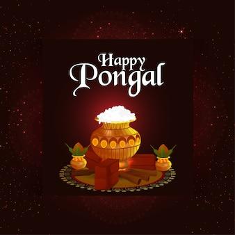 Happy pongal celebration background with creative illustration