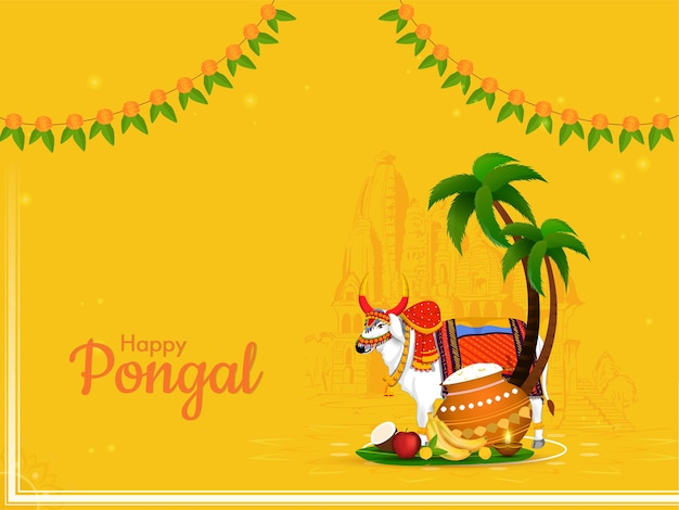 Happy pongal celebration concept with ox character