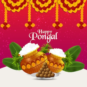 Happy pongal celebration creative background with mud pot and flower and banana leafs
