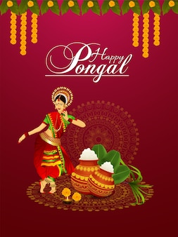 Happy pongal celebration flyer with creative illustration