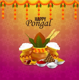 Happy pongal celebration greeting card background