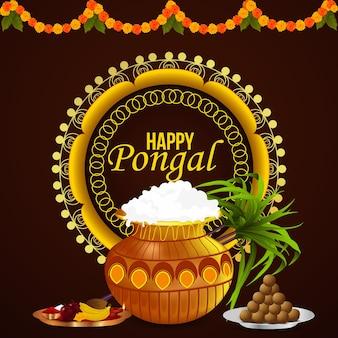 Happy pongal celebration greeting card background