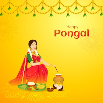 Happy pongal celebration greeting card design, beautiful woman stirring rice in mud pot with fruit
