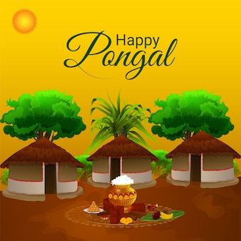 Happy pongal celebration greeting card with creative background