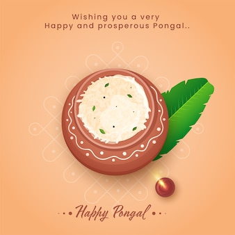 Happy pongal celebration greeting card with top view of rice mud pot