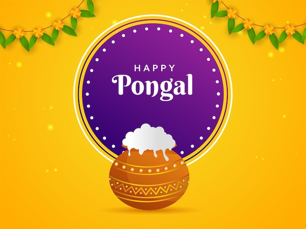 Дизайн плаката happy pongal празднование с традиционным блюдом в горшочке с грязью