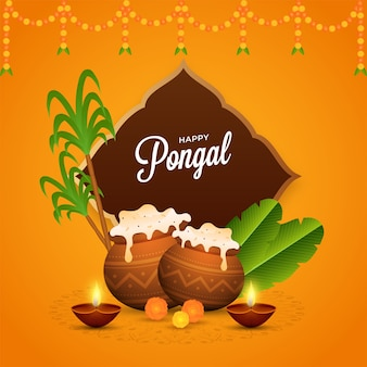 Happy pongal celebration poster design with traditional dish mud pots