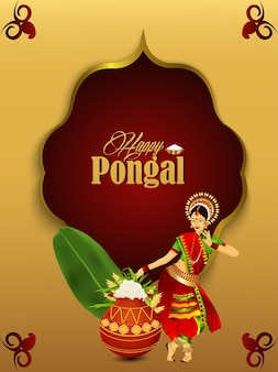 Happy pongal celebration poster with creative illustration