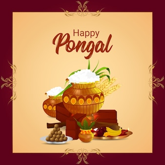 Happy pongal celebration with mud pot and sweet