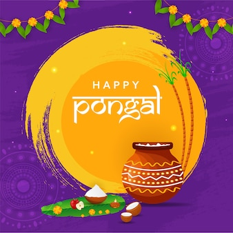 Happy pongal concept with pongali rice in mud pot