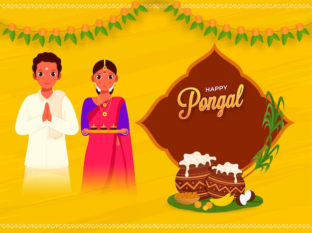 Happy pongal concept with south indian couple greets, traditional dish in mud pots