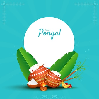 Happy pongal concept with traditional dish in mud pots