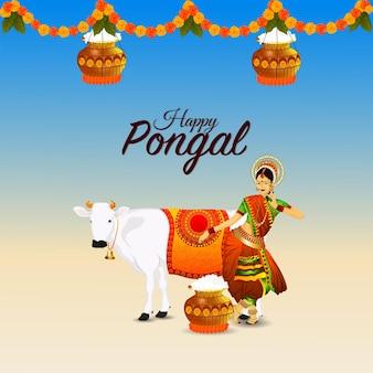 Happy pongal креативная иллюстрация и грязевой горшок