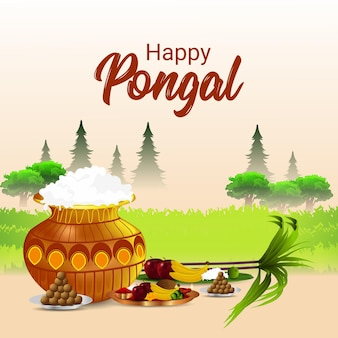 Happy pongal creative illustration and background