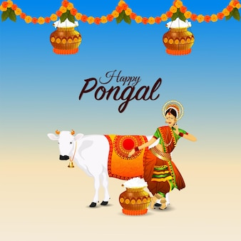 Happy pongal creative illustration and mud pot