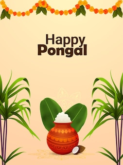 Happy pongal flyer or poster