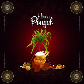 Happy pongal greeting card background