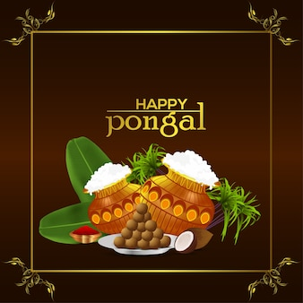 Happy pongal greeting card celebration indian festival background