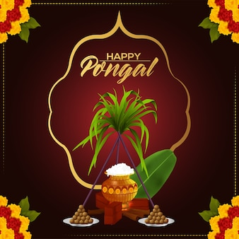 Happy pongal greeting card concept with mud pot and sugarcane