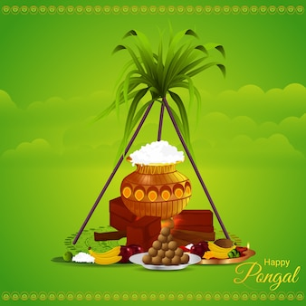 Happy pongal greeting card concept
