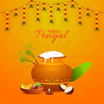 Happy pongal greeting card design with mud pot full of pongali rice