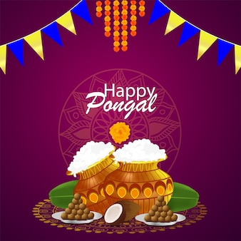 Happy pongal greeting card design