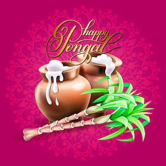Happy pongal greeting card to south indian winter holiday