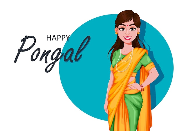 Happy pongal greeting card with beautiful indian girl