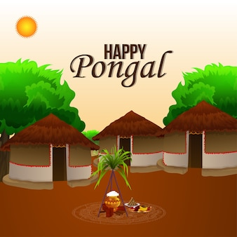 Happy pongal greeting card with creative background with village scene