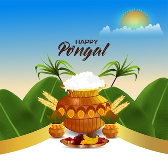 Happy pongal greeting card with mud pot and banana leafs
