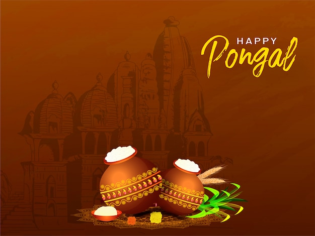 Happy pongal greeting card  with mud pot full of pongali rice, sugarcane and wheat ear in front of temple view on brown .