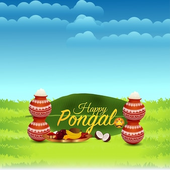 Happy pongal greeting card with mud pot of rice and background